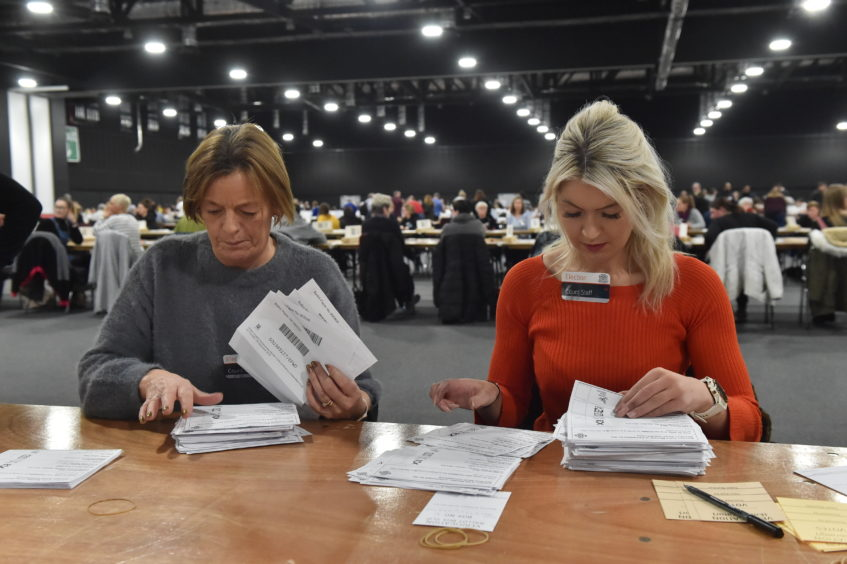 The counting gets underway at P&J Live, Aberdeen. Picture by Kenny Elrick.