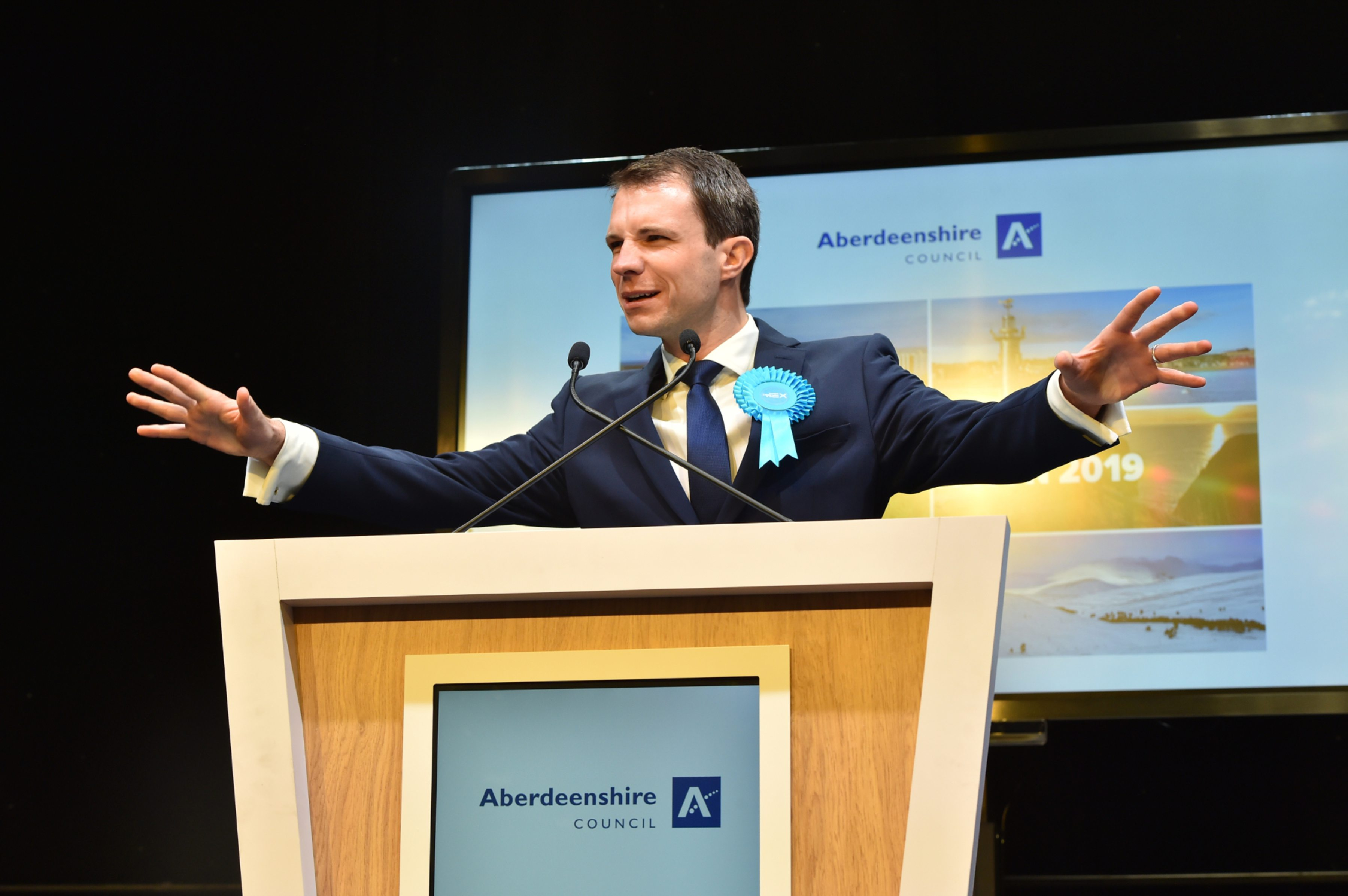 Conservatives Andrew Bowie celebrates retaining his seat for West Aberdeenshire and Kincardine at P&J Live, Aberdeen. Picture by Kenny Elrick