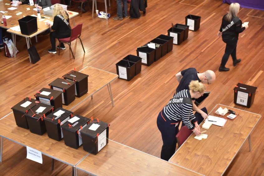 Counting gets underway at Elgin Town Hall