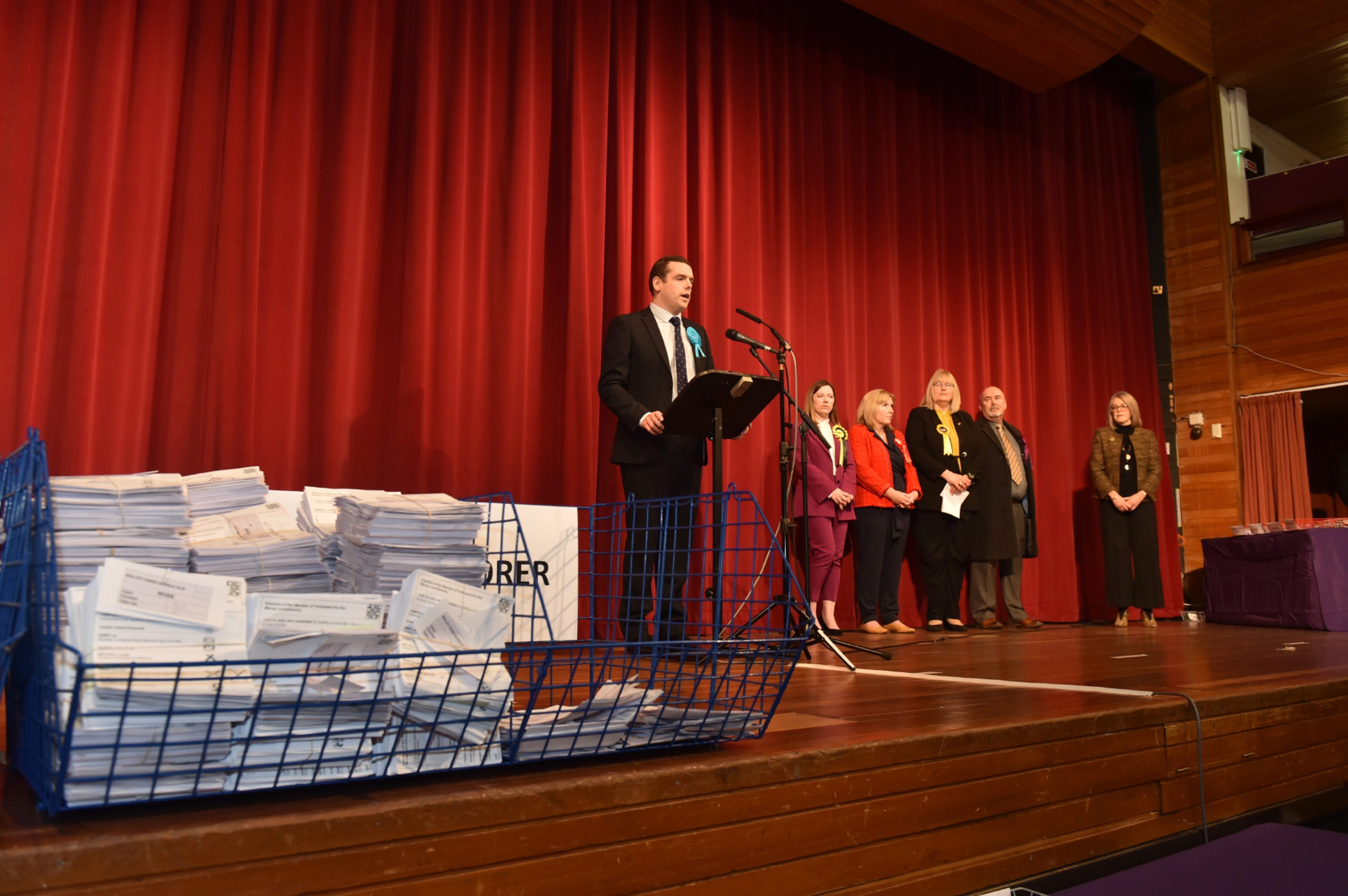 Conservative's Douglas Ross speaks after winning the Moray seat at Elgin Town Hall. Picture by Jason Hedges