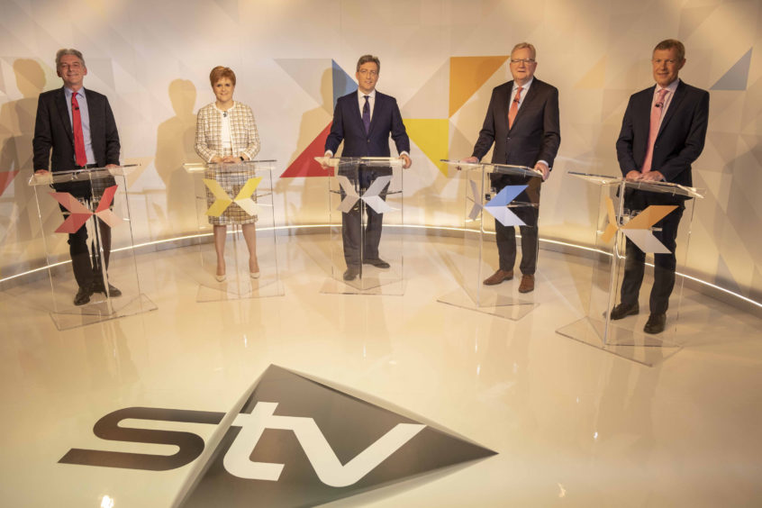 (left to right) Leader of the Scottish Labour party, Richard Leonard, Scottish First Minister Nicola Sturgeon, STV's Colin Mackay, Leader of the Scottish Conservatives Jackson Carlaw and Willie Rennie