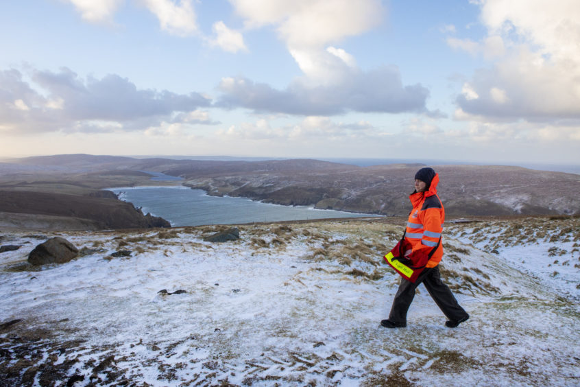 Royal Mail postwoman Michelle McCullough serves the UKÕs most northerly postal route, which, at approximately 212 miles from the very tip of the Scottish mainland, is also the nationÕs most remote. JAN 17 2019