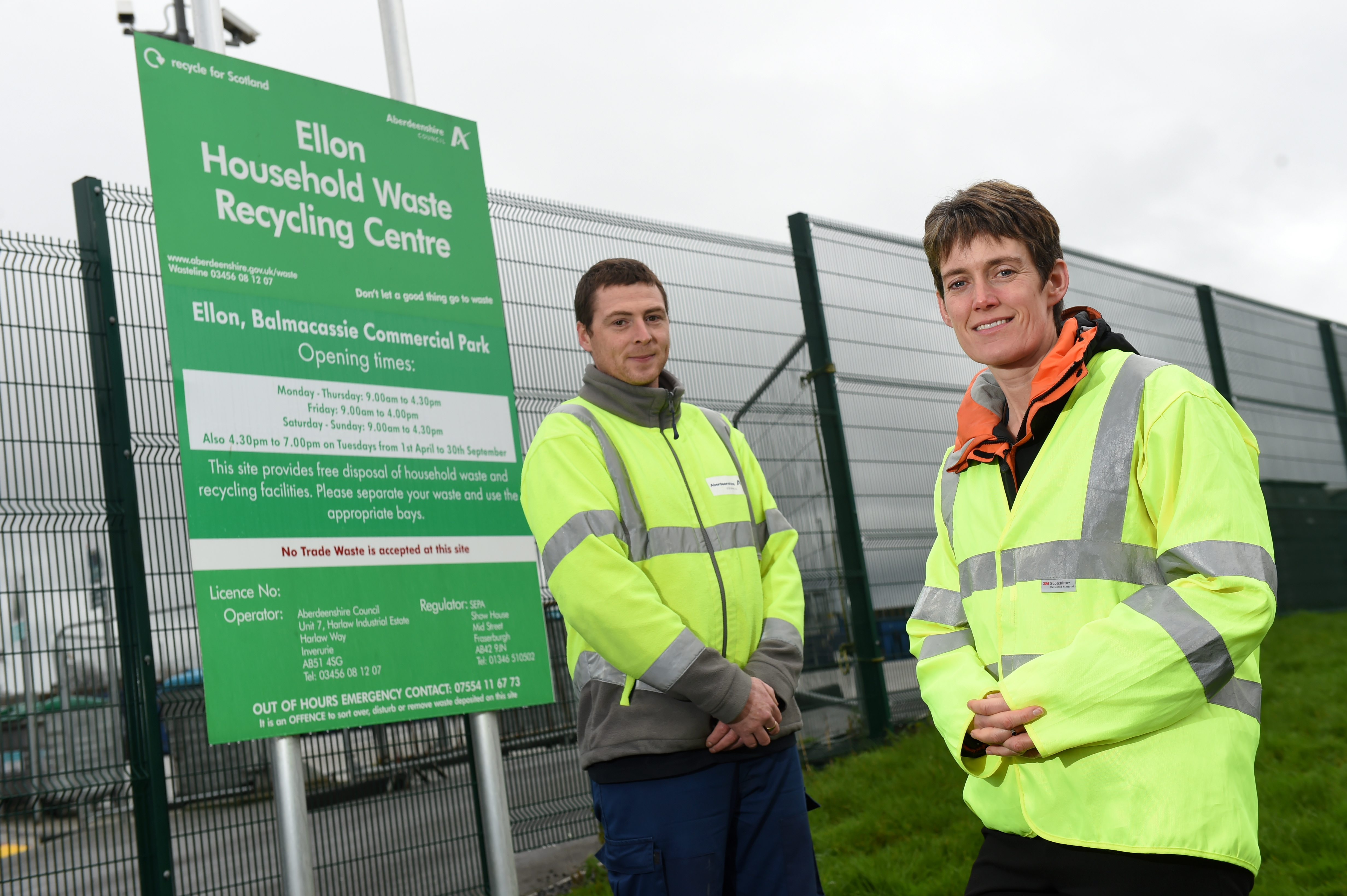Picture of (L-R) Barry Duguid (waste facilities officer) and Ros Baxter. Picture by Kenny Elrick.