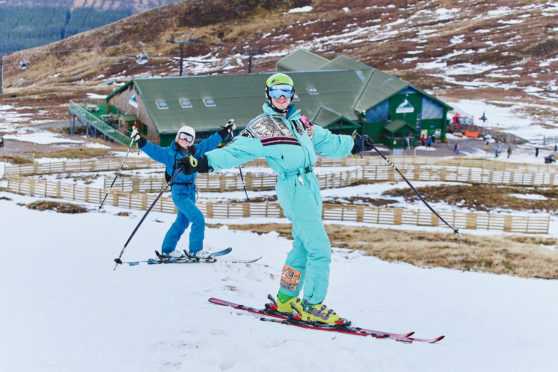Skiers at Nevis Range.