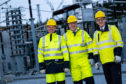 Rob McDonald, managing director of SSEN Transmission, Scottish Government minister Paul Wheelhouse and Colin Nicol, managing director of SSEN Networks at the Blackhillock substation near Keith.