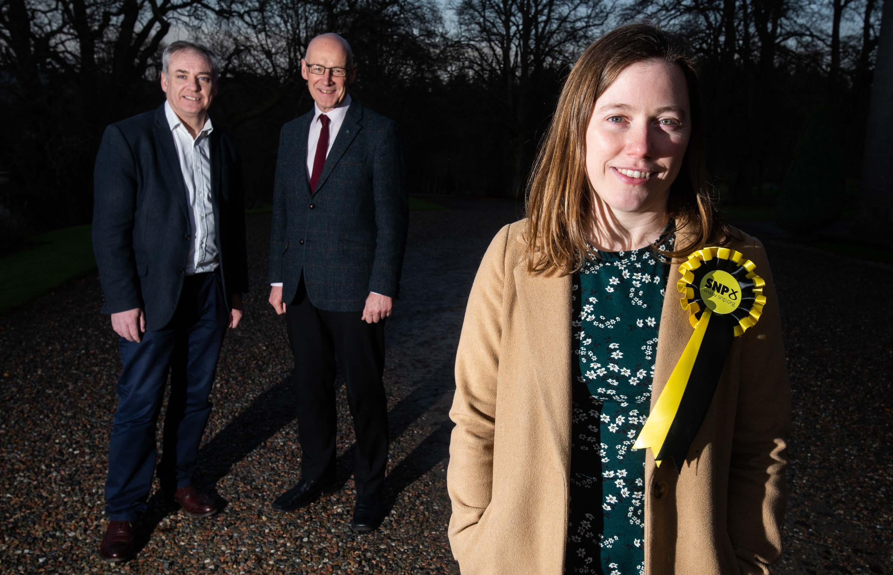 The SNP's Moray candidate Laura Mitchell, pictured right, with Moray MSP Richard Lochhead and John Swinney, Depute First Minister of Scotland.