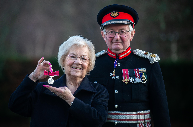 TheLord-Lieutenant of Moray, GrenvilleJohnston gives June Herron her BEM