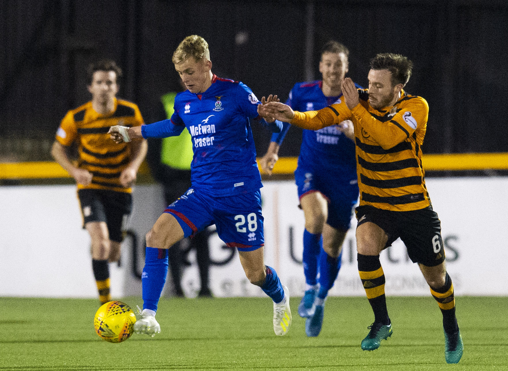 Roddy MacGregor playing against Alloa.
