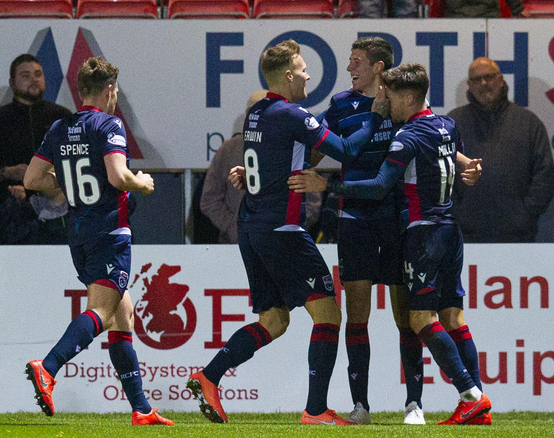 Ross Stewart is congratulated by team-mates after scoring against Hibernian.