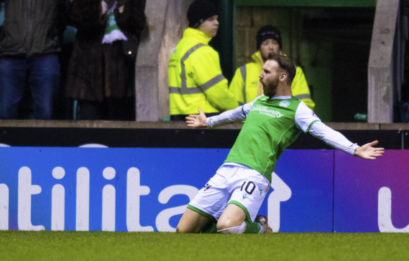 Martin Boyle celebrates his opening goal in Hibernian's 3-0 win over Aberdeen.