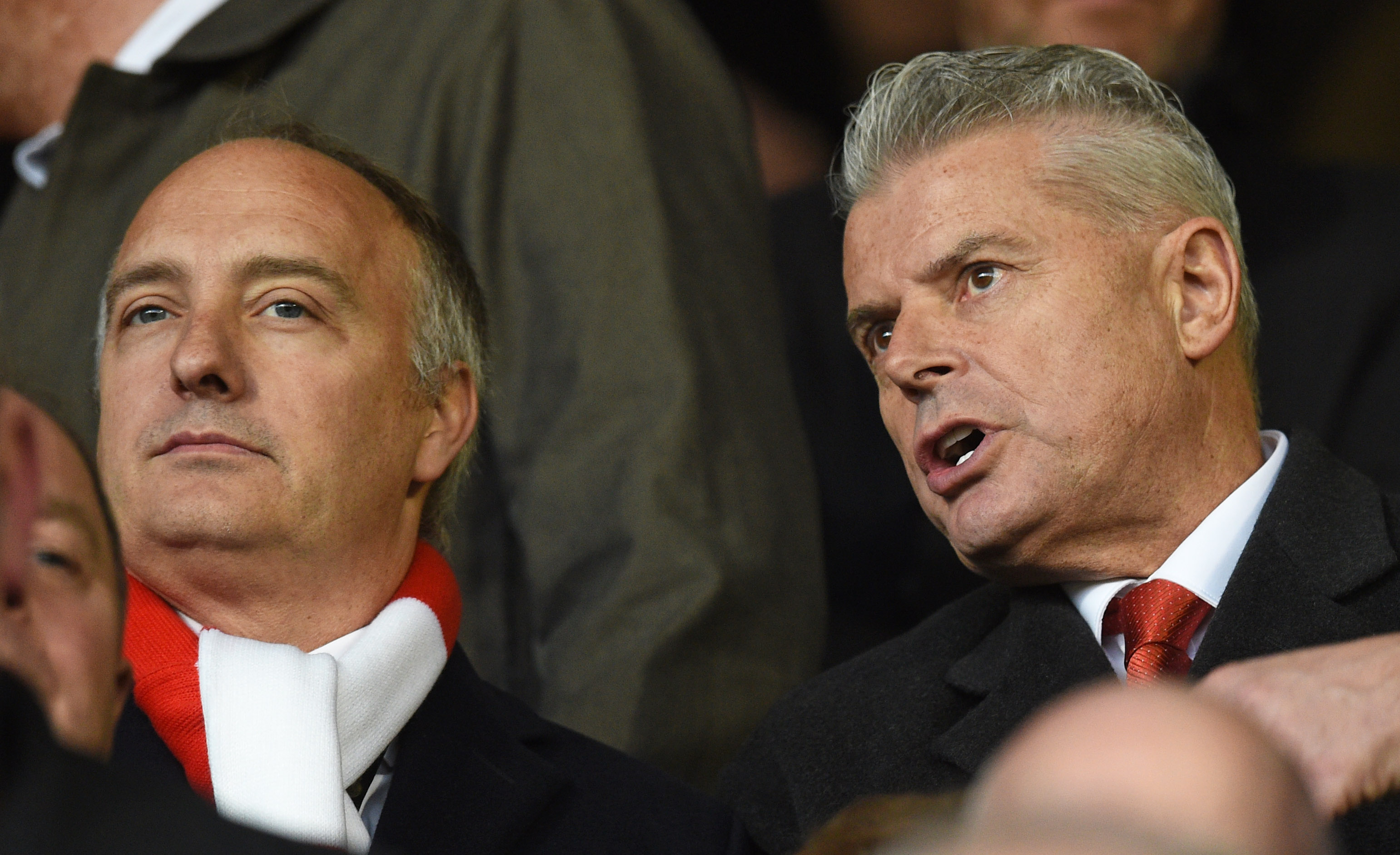 Aberdeen chairman Dave Cormack, right, and Atlanta United president Darren Eales watch on.
