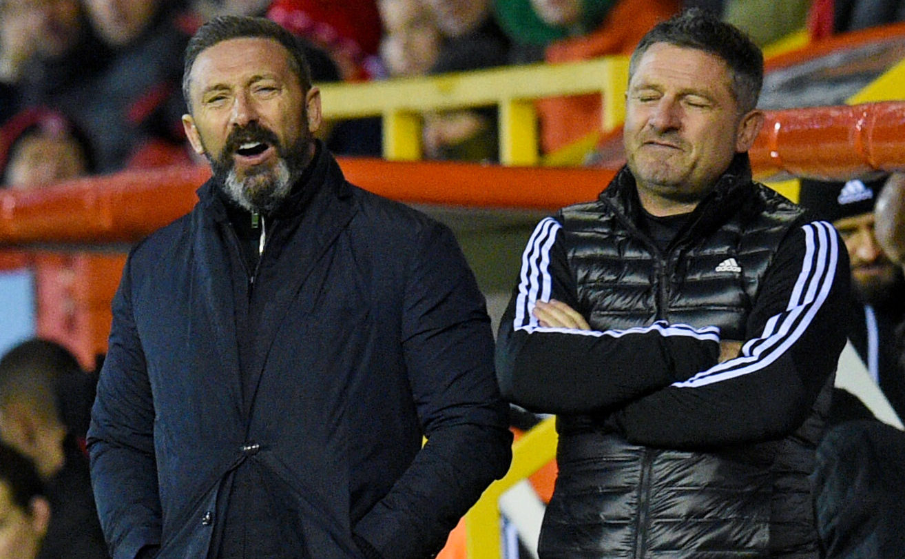 Aberdeen manager Derek McInnes, left, and assistant manager Tony Docherty.