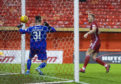 Sam Cosgrove makes it 1-0 during the Ladbrokes Premiership match between Aberdeen and Hamilton Academical.