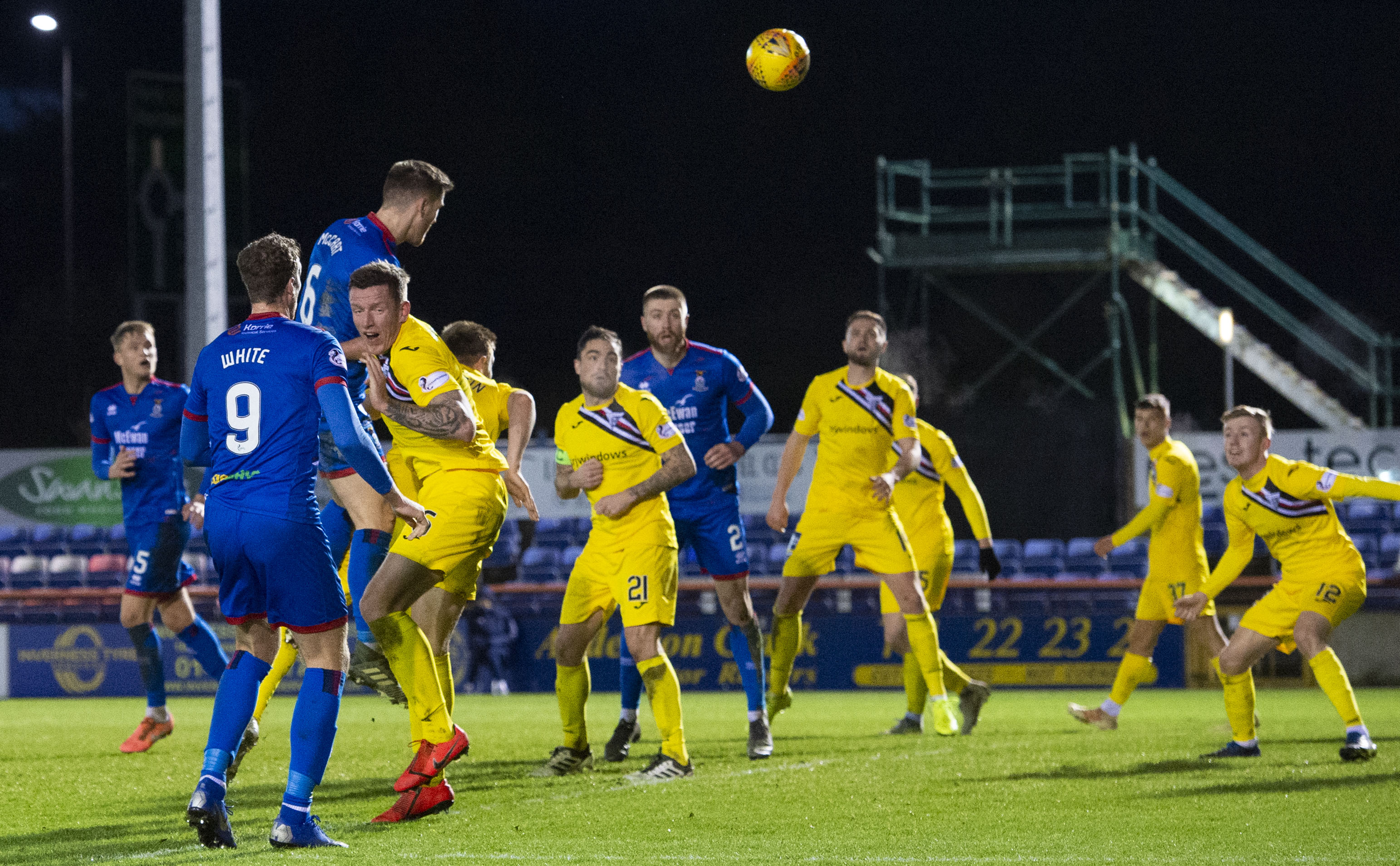 Inverness' Jamie McCart rises to head in the second goal during the Ladbrokes Championship match with Dunfermline Athletic.