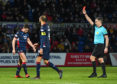 Lewis Spence is sent off for Ross County.