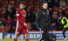 Funso Ojo comes off with an injury during the Ladbrokes Premiership match between Aberdeen and Livingston, at Pittodrie Stadium, on December 26.