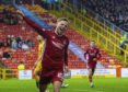 Bruce Anderson makes it 2-0 during a Ladbrokes Premiership match between Aberdeen and Livingston.