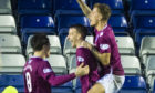Luke Donnelly celebrates scoring for Arbroath.