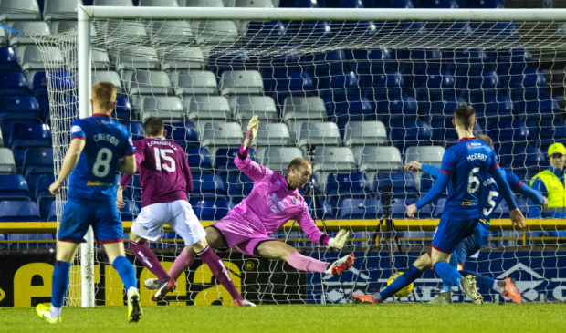 Arbroath's Luke Donnelly makes it 1-0 during the Ladbrokes Championship match between Inverness Caledonian Thistle and Arbroath, at the Tulloch Caledonian Stadium, on December 28.