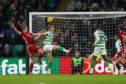 Aberdeen's Sam Cosgrove (left) scores the equaliser at Celtic Park