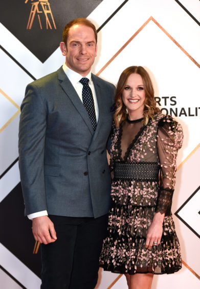 Alun Wyn Jones and Anwen Jones arriving for the BBC Sports Personality of the year 2019 at The P&J Live, Aberdeen.