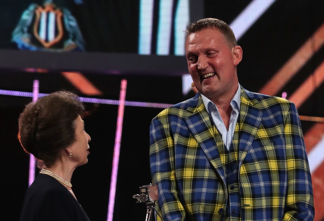 Doddie Weir (right) receives his award from The Princess Royal during the BBC Sports Personality of the Year 2019 at The P&J Live, Aberdeen.