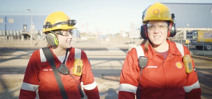 Abbey Thomson, left, and Ellie Richmond at work at the St Fergus Gas Plant