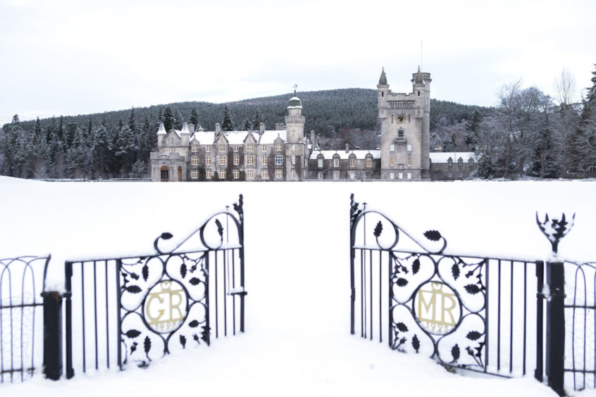 Balmoral Castle, Royal Deeside, in the snow.