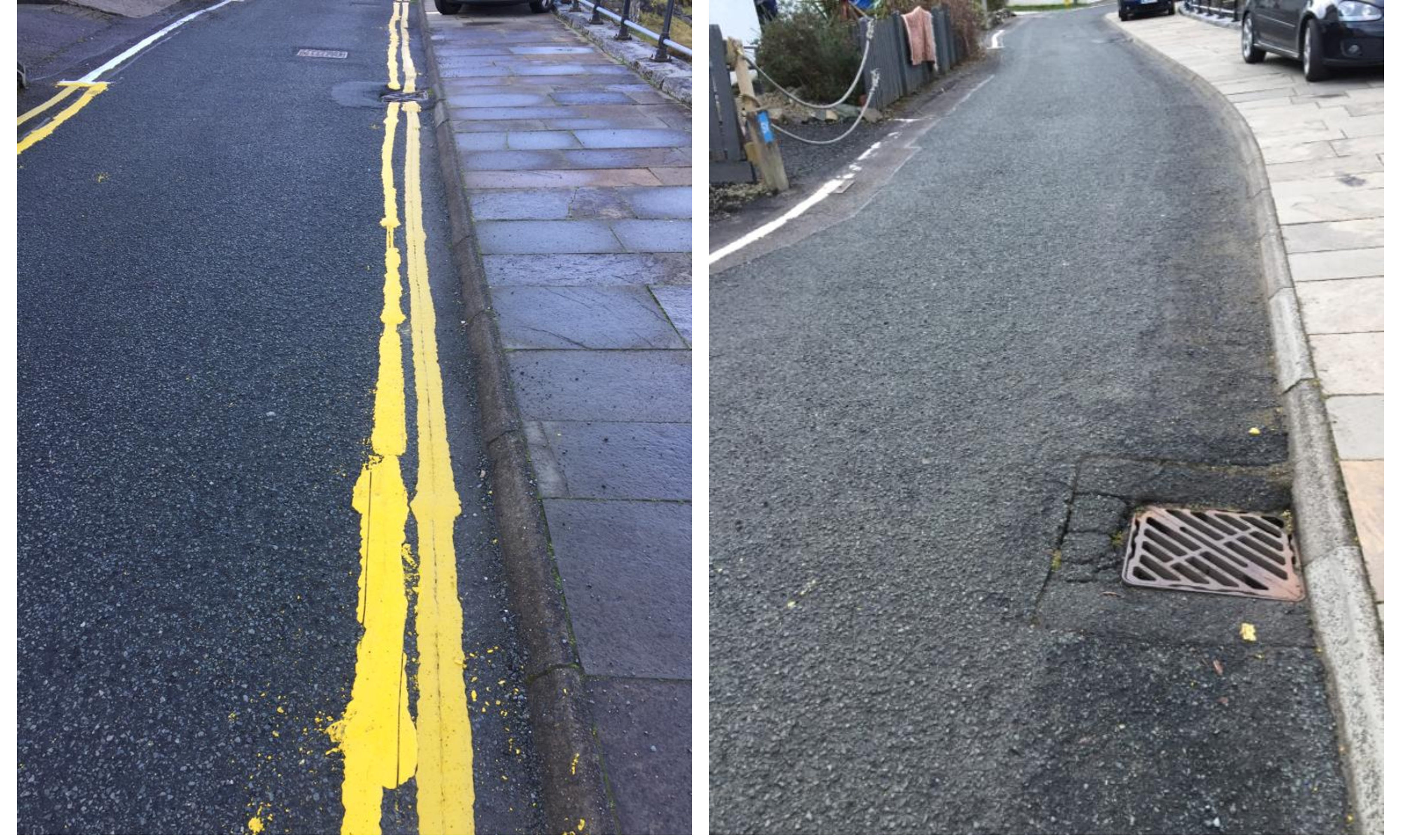 Before and After: Highland Council made the decision to remove the lines following complaints from locals