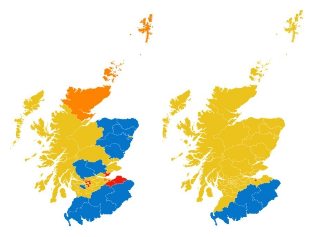 Current political  make-up, left, and exit poll predictions, right