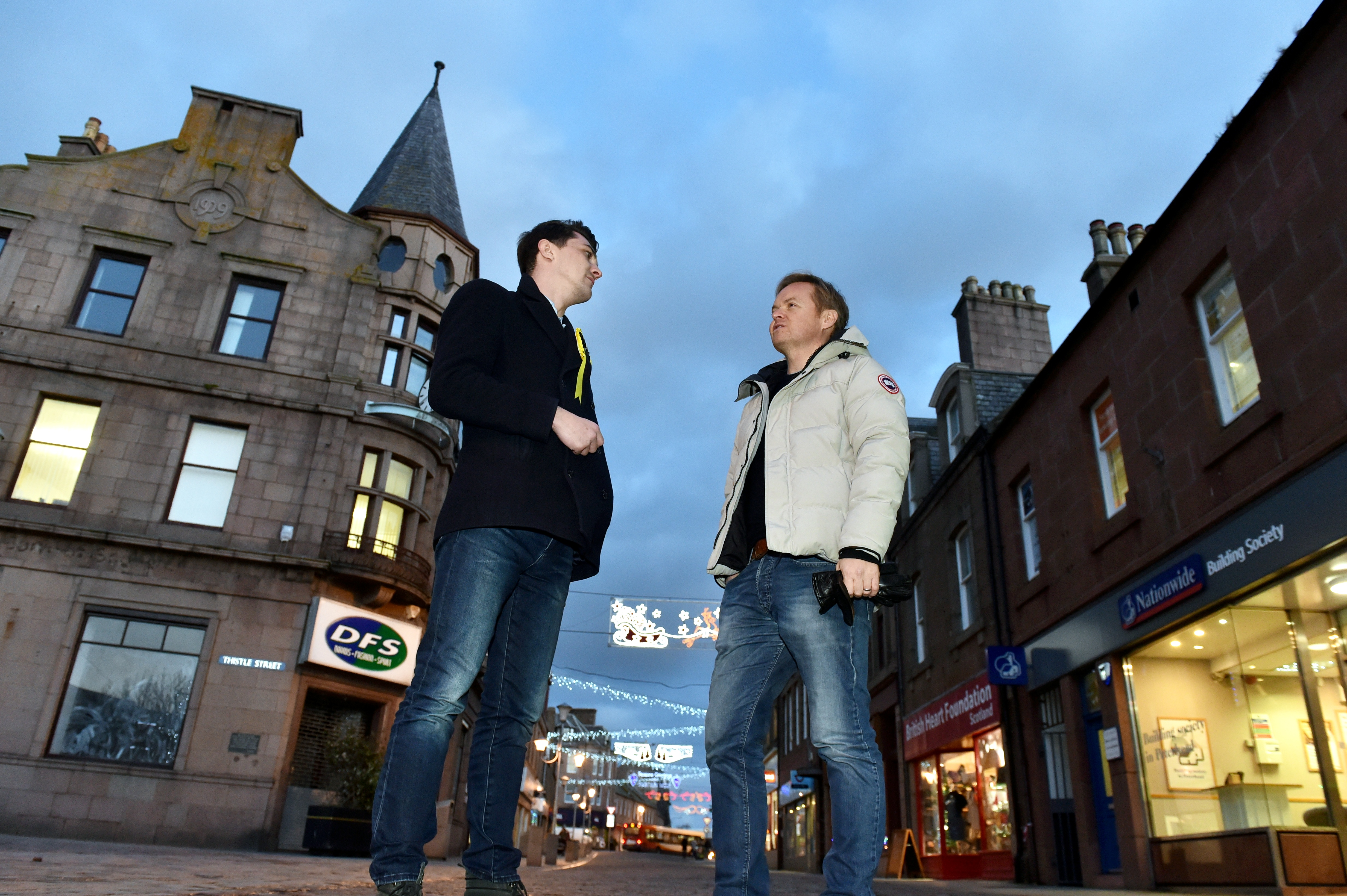 Jon Baird and SNP's Paul Robertson in Peterhead