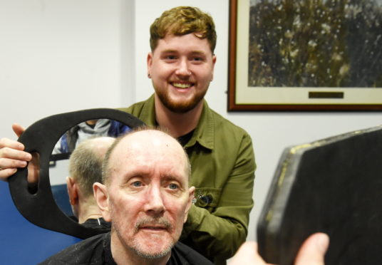Patient, James Blair and hairdresser Liam Robertson, from Hombre.  Picture by Jim Irvine