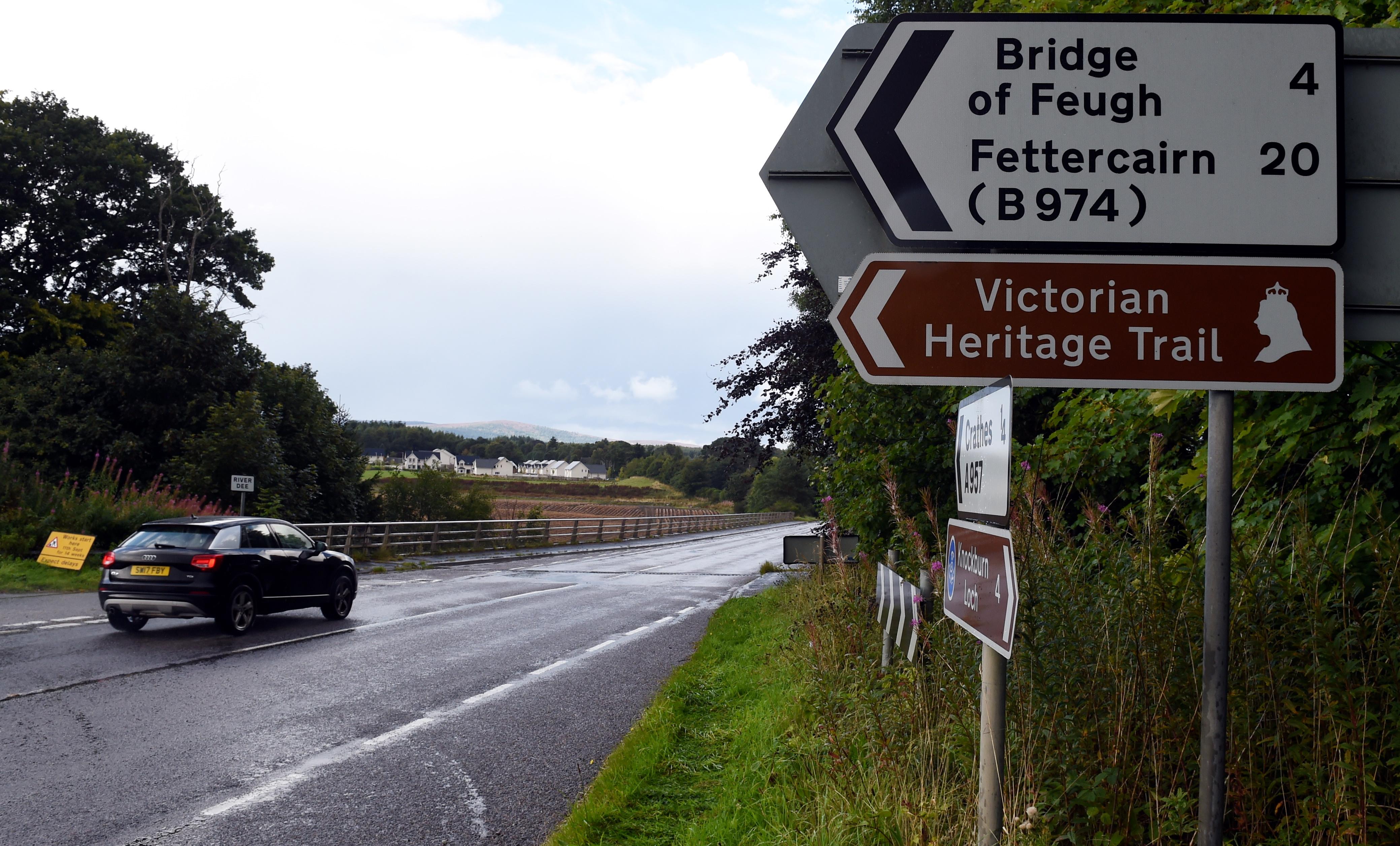 Locator of Durris Bridge at Crathes, Aberdeenshire.