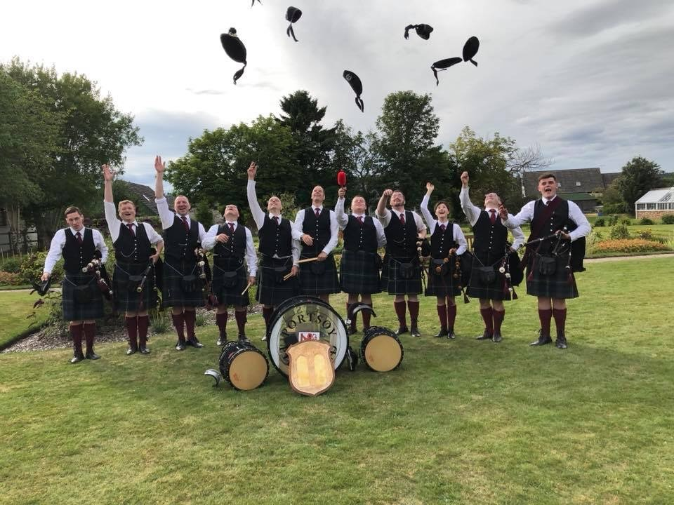 Portsoy Pipe Band at the Nethy Bridge Competition in August