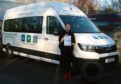 Operations manager Rebecca Ross with the wheelchair-accessible MAN minibus
