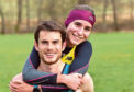 Lumphanan Detox 10k - Men's winner Robbie Simpson with girlfriend, Women winner Ginie Barrand. Picture by COLIN RENNIE