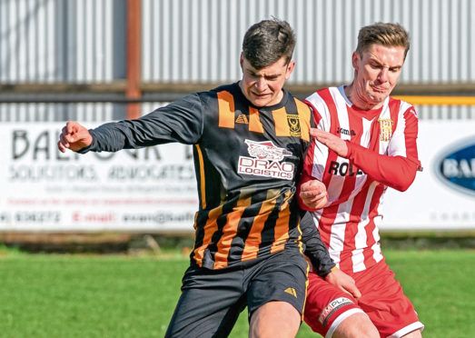 Glenn Murison, front, in action for Huntly.