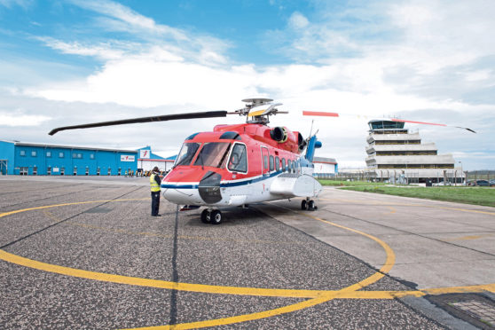 CHC helicopters at Aberdeen heliport