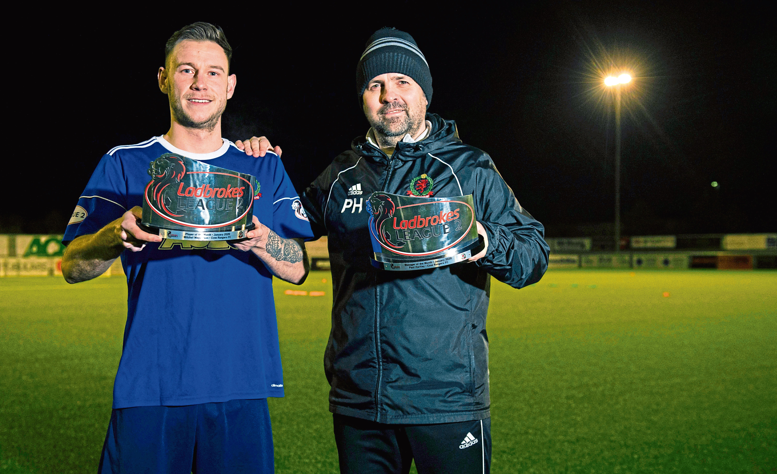 Cove Rangers manager Paul Hartley and striker Mitchel Megginson after receiving the Ladbrokes League 2 Manager and Player of the Month awards for January, at the Balmoral Stadium.