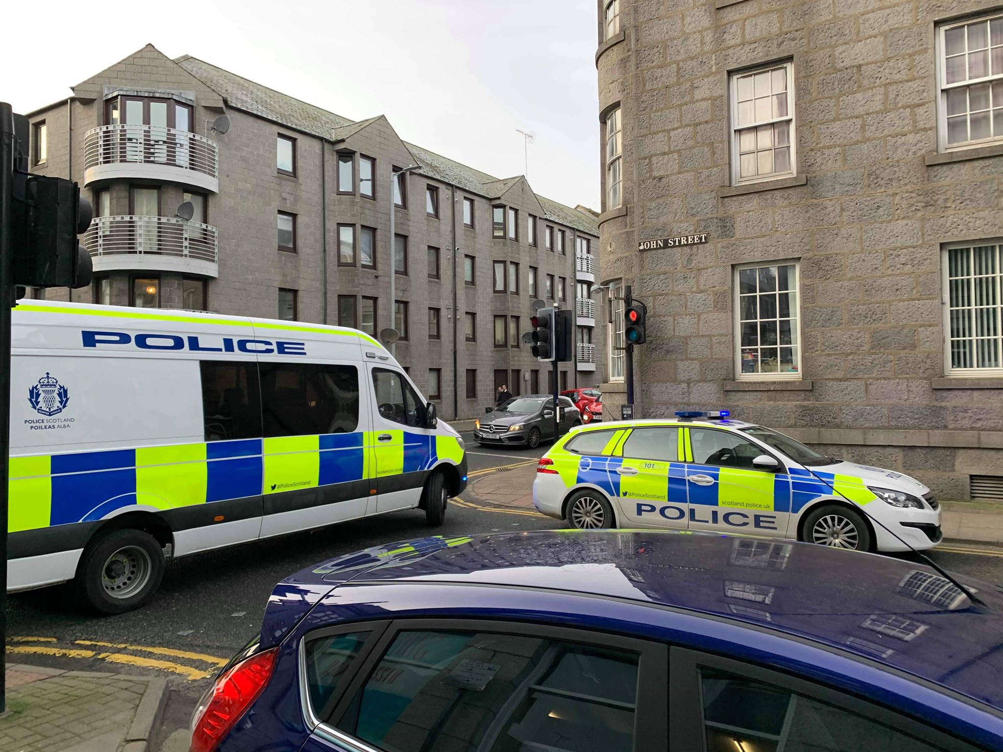 Police at the incident on John Street