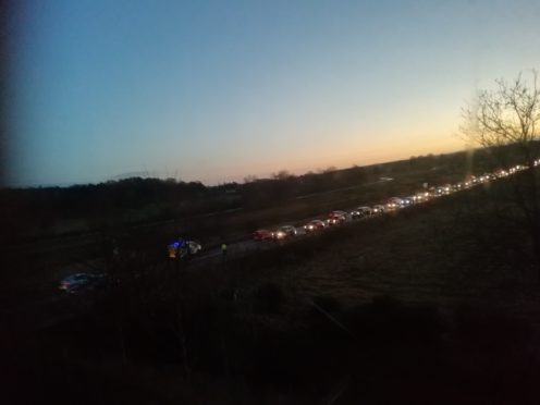 The queue of traffic on the A96 at Elgin. Picture by Christine Munro.
