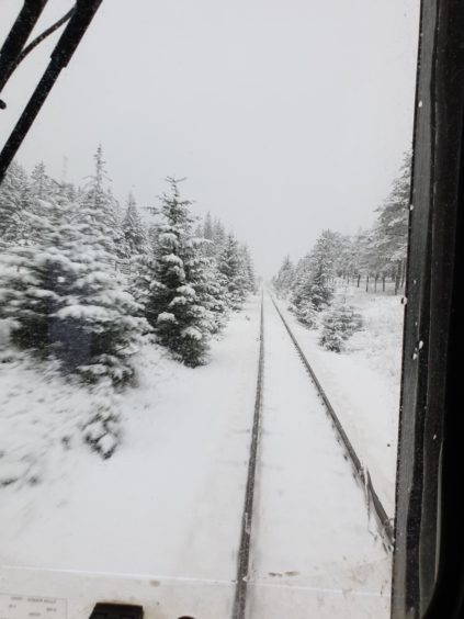 Train conductor, Mitch Hughes, got a front seat of the snow at Tyndrum.