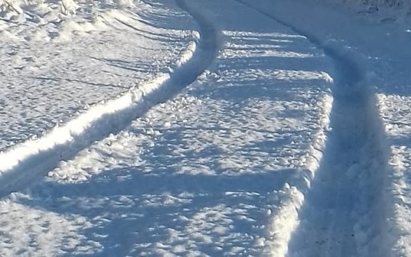 Hazel Law shared a picture of the snowfall on her driveway in Dufftown on social media.