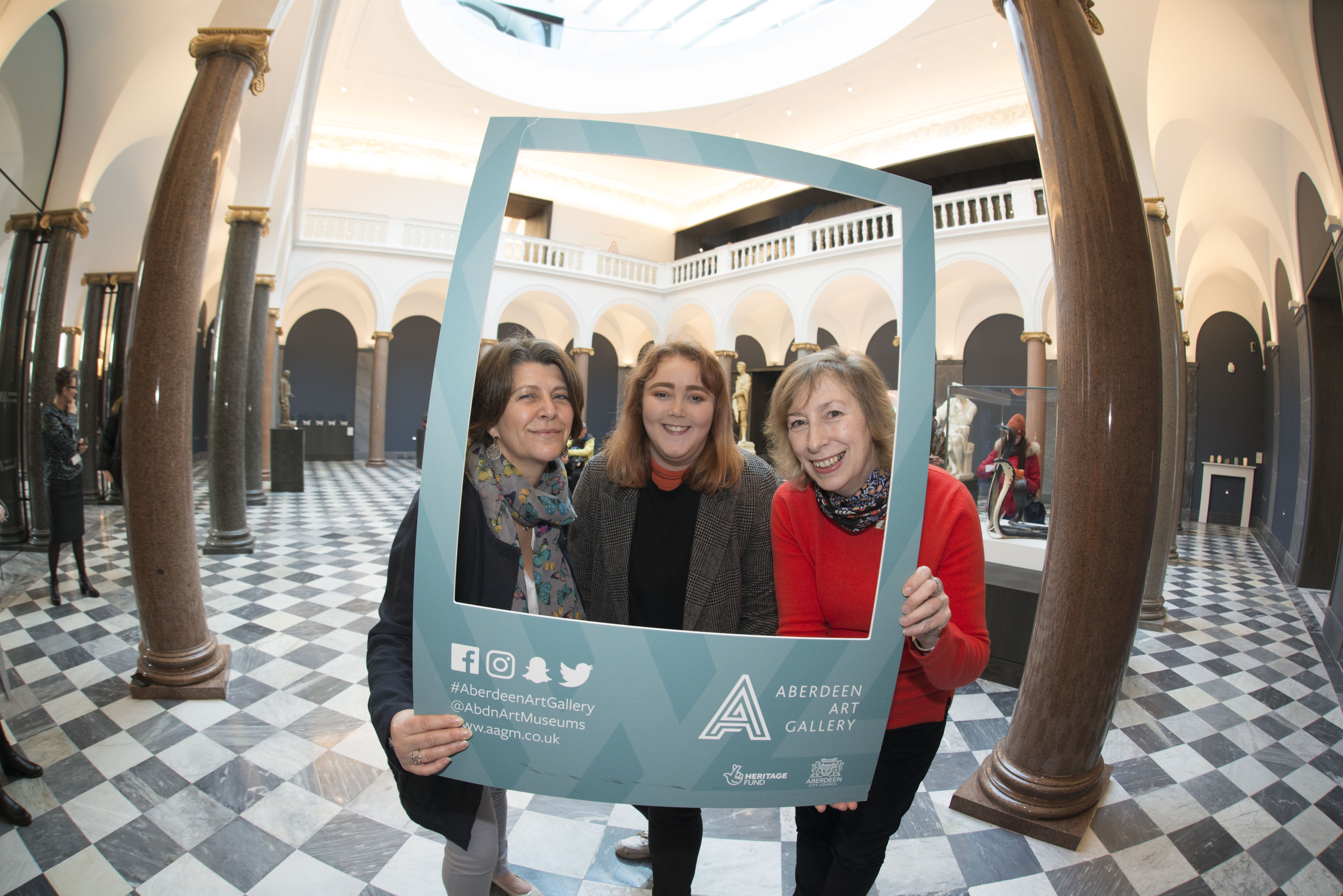 Student Ceilidh Jeffrey (centre) with Councillor Marie Boulton and museums manager Christine Rew,