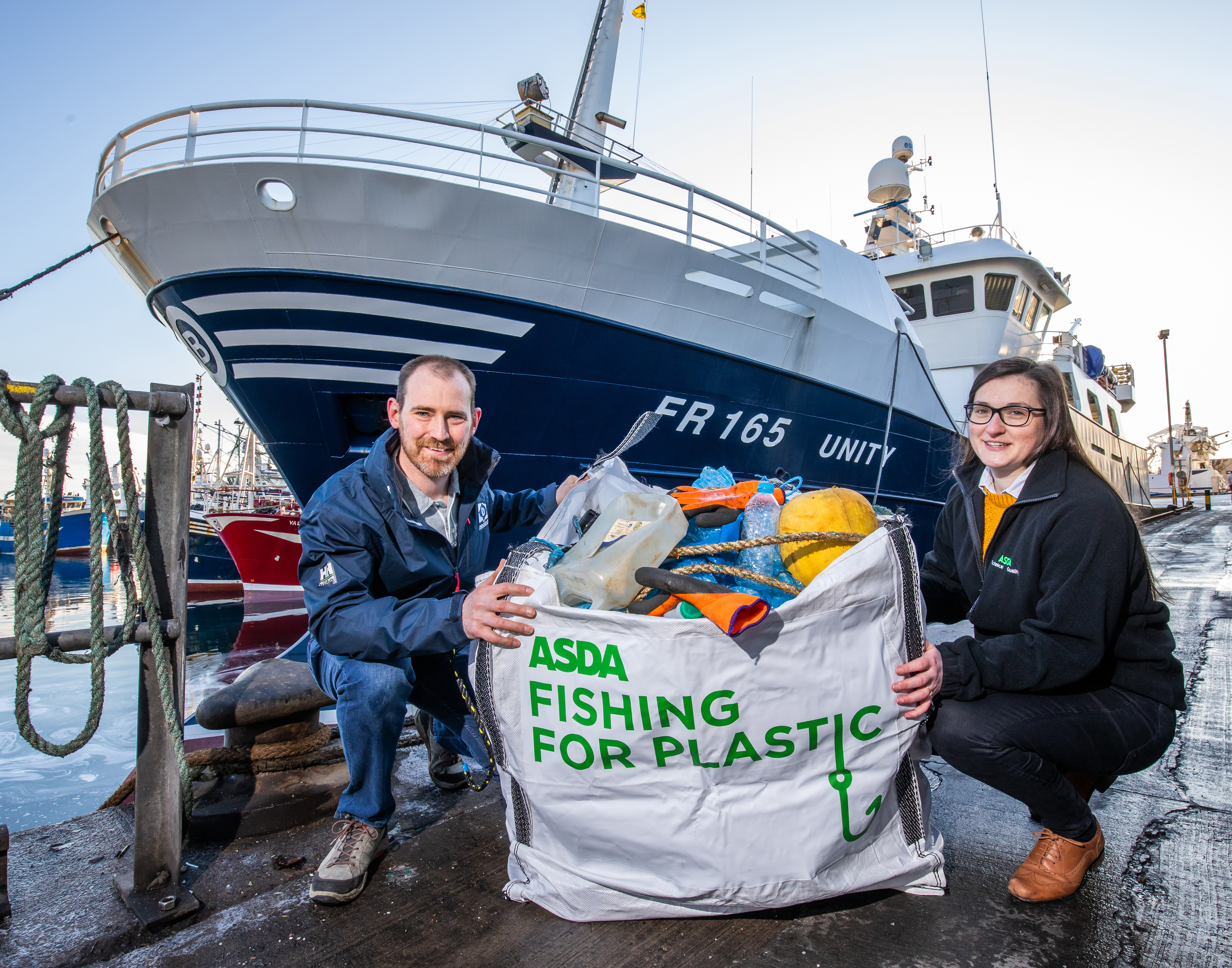 Sarah McCann from ASDA and David Bellany from Denholm Seafoods launch the Fishing for Plastic scheme.