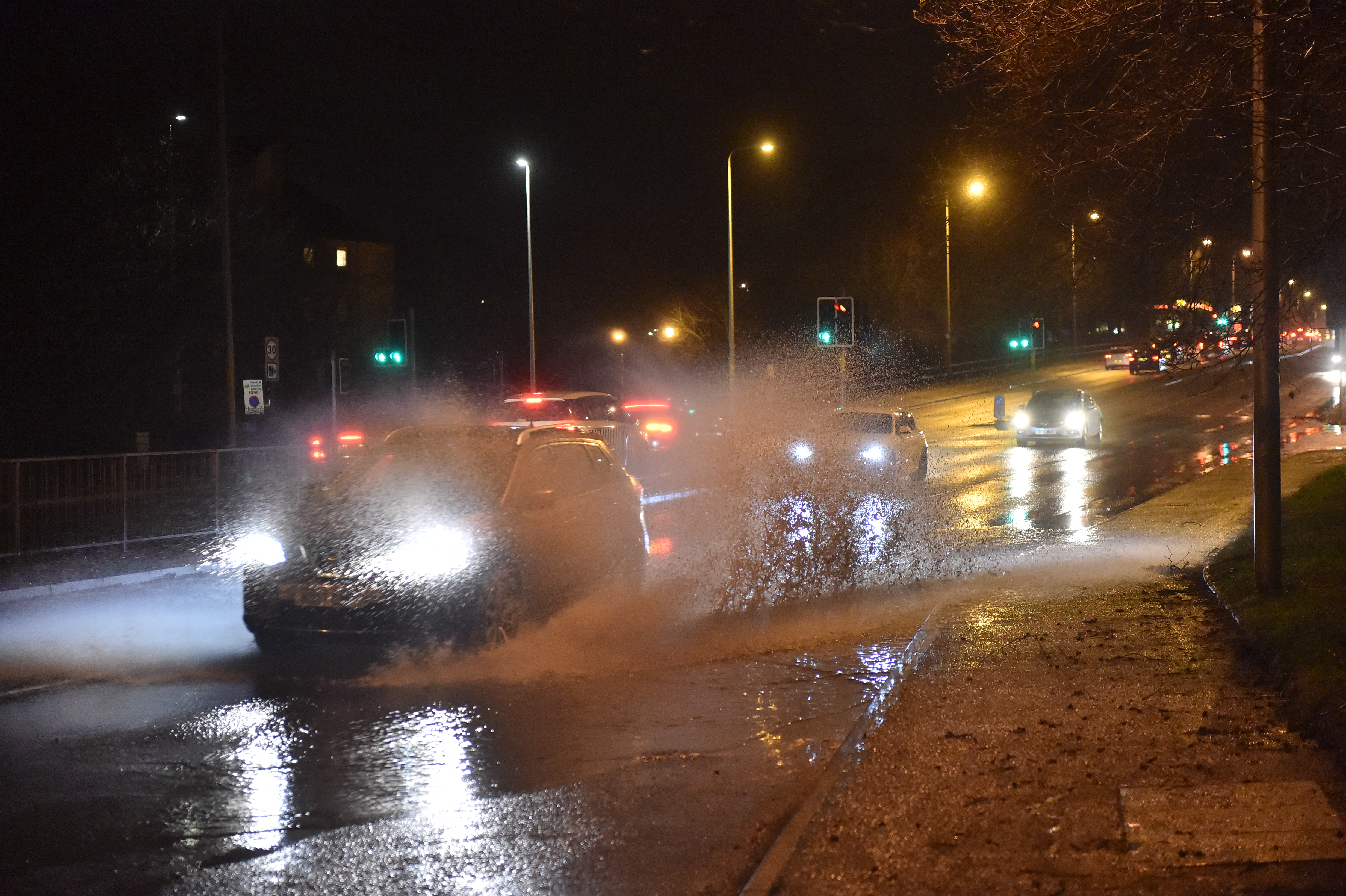 Motorists had to contend with wet conditions on North Anderson Drive, Aberdeen. Photo: Scott Baxter.
