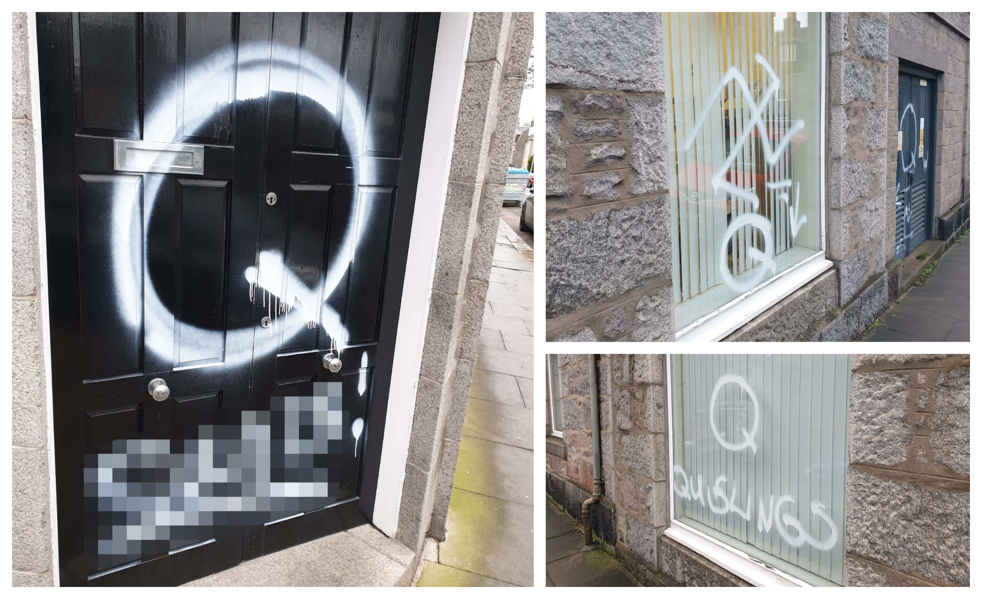 Tom Mason's parliamentary office in Aberdeen has been vandalised. Pictures: Twitter