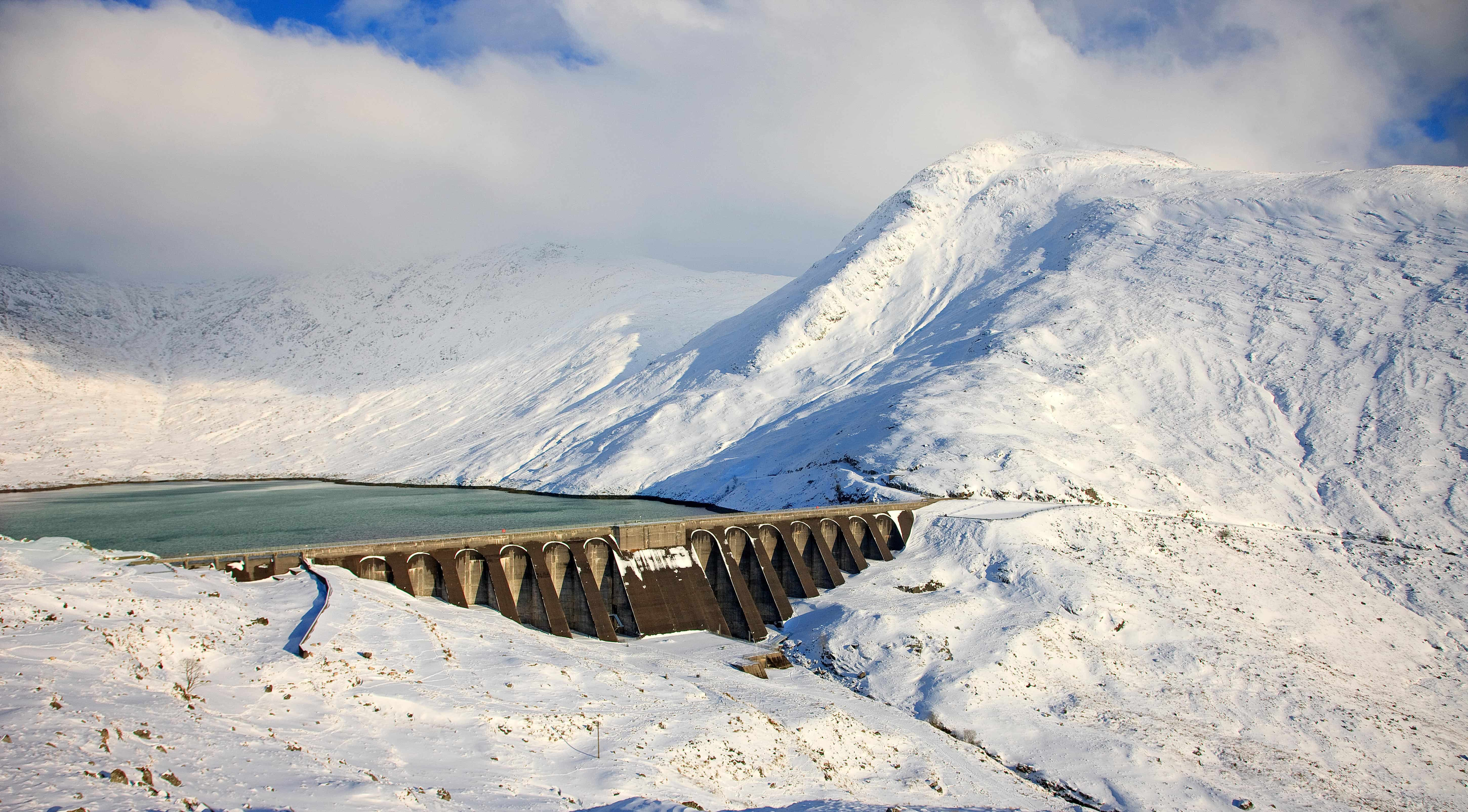 The hydro-electric dam on the slopes of Ben Cruachan.