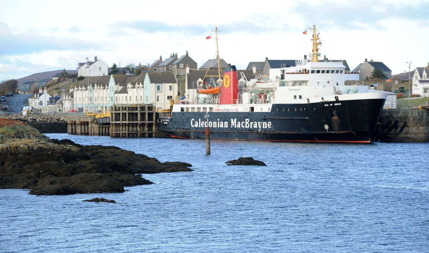 The Caledonian MacBrayne Ferry, Isle of Arran at her berth in Lochboisdale, South Uist. Picture by Sandy McCook