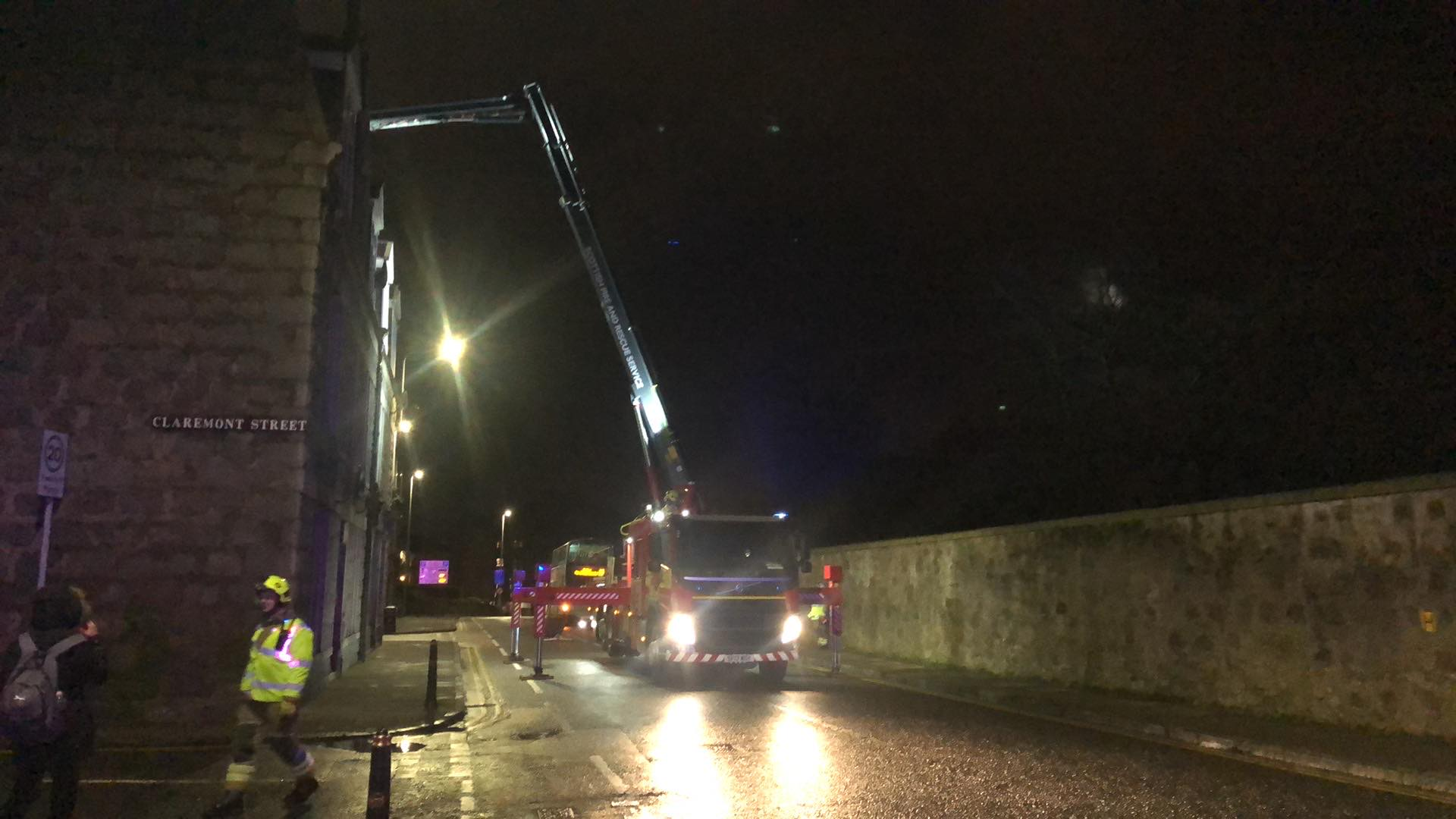 Fire crews on Great Western Road, Aberdeen